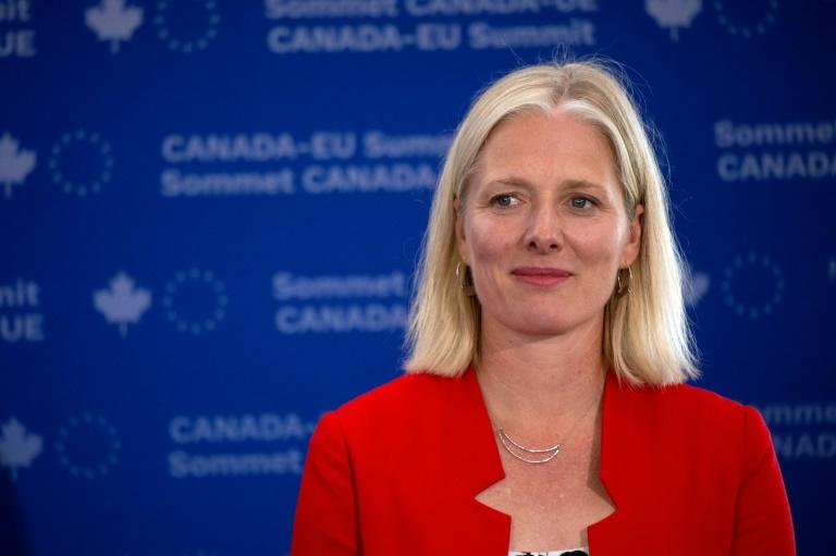 "Canadian Environment Minister Catherine McKenna, seen here at a July 18, 2019 event in Montreal, has been disparaged by critics as ""Climate Barbie"" and had to be assigned a security detail"