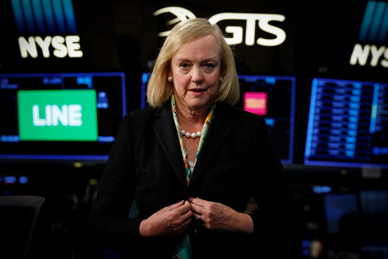 Hewlett Packard Enterprise CEO Meg Whitman is seen following an interview on CNBC on the floor of the New York Stock Exchange (NYSE) in New York, U.S., September 6, 2017. REUTERS/Brendan McDermid