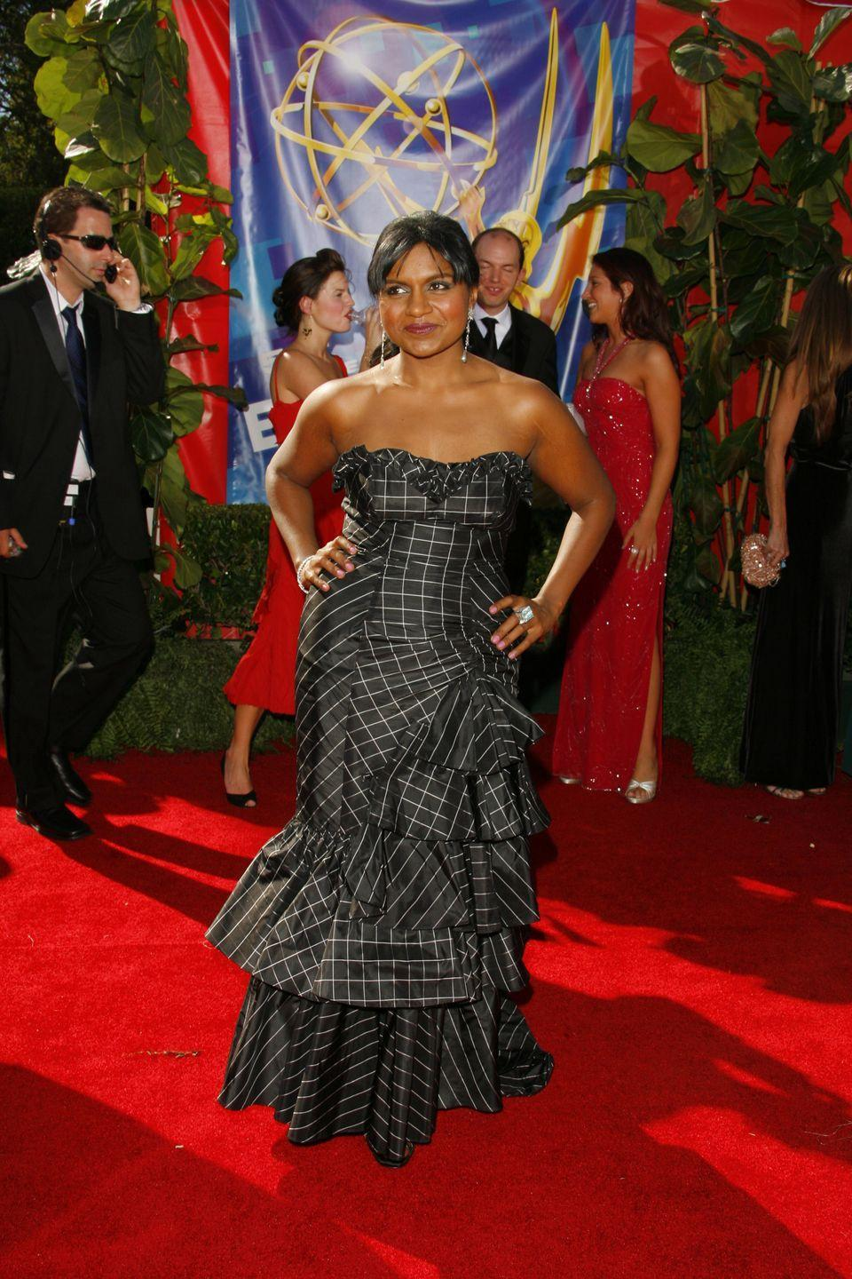 <p>Kaling wore this black patterned dress to the Emmy Awards in 2006.</p>