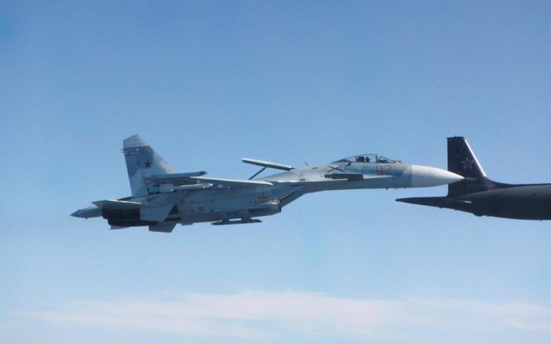 Russian SU-27 Flanker B fighter Image capture by RAF Typhoon Pilot over the Baltic Sea 30 July 2020. - RAF