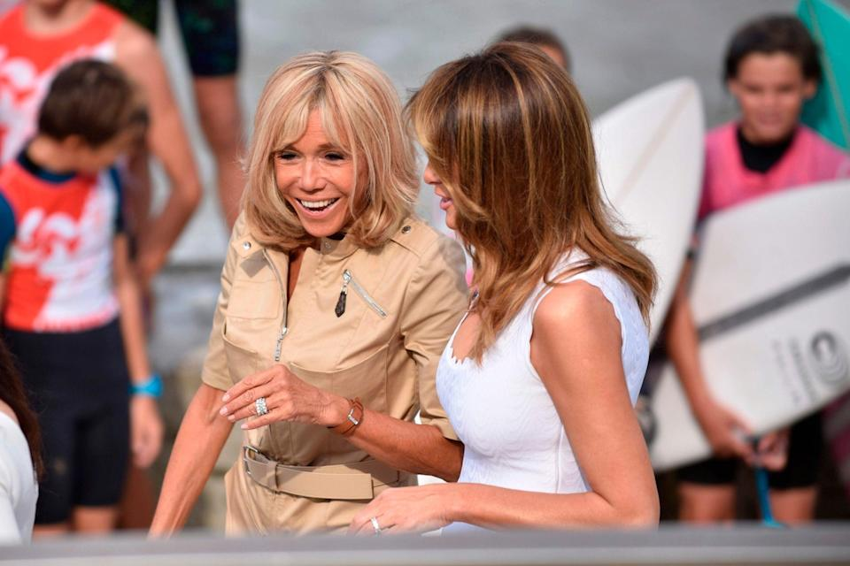 Brigitte Macron (left) with fellow First Lady Melania Trump (AFP/Getty Images)