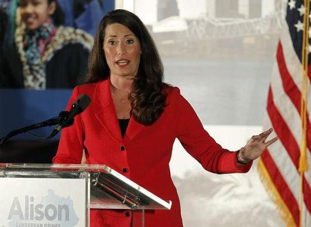 Democratic Senate candidate Alison Lundergan Grimes addresses the crowd during a campaign stop with Former President Bill Clinton at campaign event in Louisville