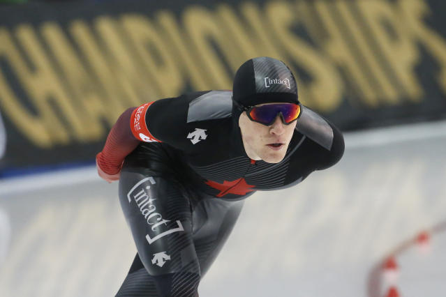 Canada's Graeme Fish competes in the men's 10,000 meters during the world single distances speedskating championships Friday, Feb. 14, 2020, in Kearns, Utah. (AP Photo/Rick Bowmer)