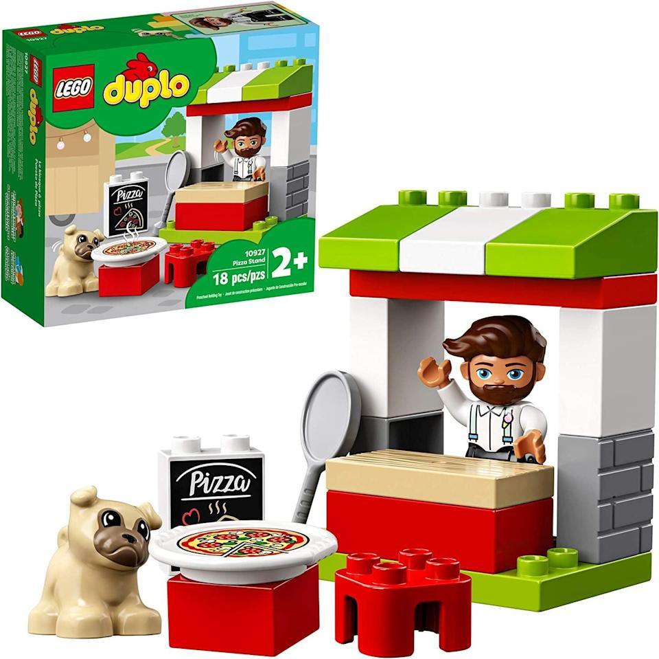 <p>The <span>Lego Duplo Pizza Stand</span> ($10) has 18 pieces and is best suited for toddlers ages 2 years and up.</p>
