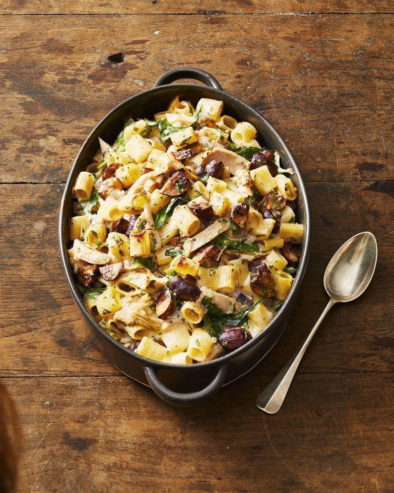 """<p>Give leftover turkey a totally different flavor by adding it in this cheesy pasta bake. You can even toss in leftover mushrooms or greens if you have 'em.</p><p><em><a href=""""https://www.goodhousekeeping.com/food-recipes/a29429290/turkey-pasta-casserole-recipe/"""" rel=""""nofollow noopener"""" target=""""_blank"""" data-ylk=""""slk:Get the recipe for Creamy Turkey Pasta Casserole »"""" class=""""link rapid-noclick-resp"""">Get the recipe for Creamy Turkey Pasta Casserole »</a></em></p><p><strong>RELATED: </strong><a href=""""https://www.goodhousekeeping.com/holidays/thanksgiving-ideas/g1471/leftover-turkey-recipes/"""" rel=""""nofollow noopener"""" target=""""_blank"""" data-ylk=""""slk:The Best Ways to Use Leftover Turkey"""" class=""""link rapid-noclick-resp"""">The Best Ways to Use Leftover Turkey</a></p>"""