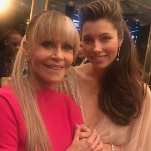 "<p>Girl power! ""Be still, my activist feminist icon worshipping heart,"" the<em> Sinner</em> star fan-girled over Hollywood icon Jane Fonda, 79, who slayed with a long ponytail and a bright-pink gown. (Photo: <a href=""https://www.instagram.com/p/BZKjZ8lldYb/?taken-by=jessicabiel"" rel=""nofollow noopener"" target=""_blank"" data-ylk=""slk:Jessica Biel via Instagram"" class=""link rapid-noclick-resp"">Jessica Biel via Instagram</a>) </p>"