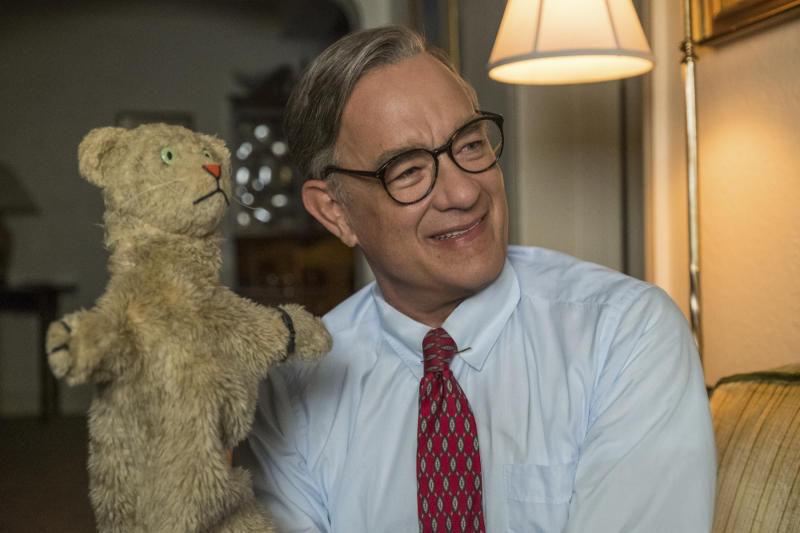 "This image released by Sony Pictures shows Tom Hanks as Mister Rogers in a scene from ""A Beautiful Day In the Neighborhood."" On Monday, Jan. 13 Hanks was nominated for an Oscar for best supporting actor for his role in the film. (Lacey Terrell/Sony-Tristar Pictures via AP)"