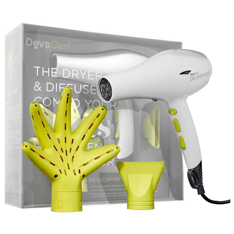 """<h2>DevaCurl DEVADRYER & DEVAFUSER Dryer & Diffuser Combo</h2><br>While the lime-green claw attachment has obvious aesthetic appeal, this Devacurl system really delivers. It uses ionic technology to deliver controlled, even temperature to your curls so they won't get fried to death. The slightly cupped shape also allows you to gently clump your curls without disturbing them, so tugging and frizzing are a non-issue — <a href=""""https://www.youtube.com/watch?v=HszBf-CJeVE"""" rel=""""nofollow noopener"""" target=""""_blank"""" data-ylk=""""slk:even Zendaya can vouch for it"""" class=""""link rapid-noclick-resp"""">even Zendaya can vouch for it</a>.<br><br><strong>DevaCurl</strong> Dryer & Diffuser Combo , $, available at <a href=""""https://go.skimresources.com/?id=30283X879131&url=https%3A%2F%2Fwww.sephora.com%2Fproduct%2Fdevadryer-devafuser-dryer-diffuser-combo-for-all-curl-kind-P398937%3Ficid2%3Dproducts%2520grid%3Ap398937%3Aproduct"""" rel=""""nofollow noopener"""" target=""""_blank"""" data-ylk=""""slk:Sephora"""" class=""""link rapid-noclick-resp"""">Sephora</a>"""