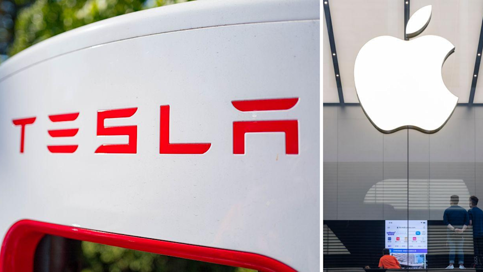 Why Tesla and Apple shares could soon jump 33 per cent. Source: Getty