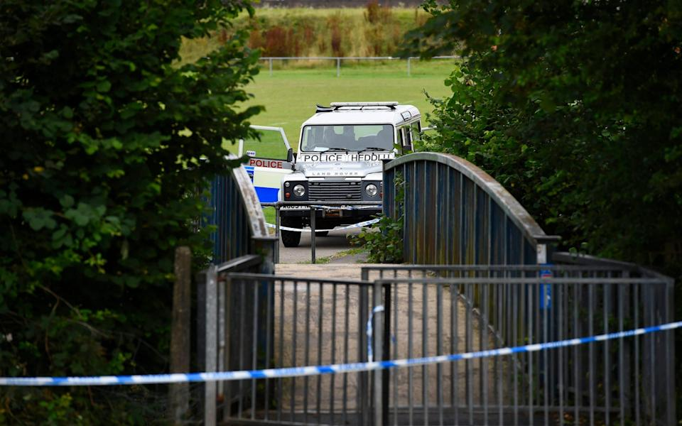 Police vehicle at the bridge over River Ogmore at Sarn, Bridgend where a five year boy was found dead in the river - Wales News Service