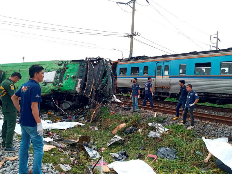 20 killed on temple trip in Thailand as bus, train collide