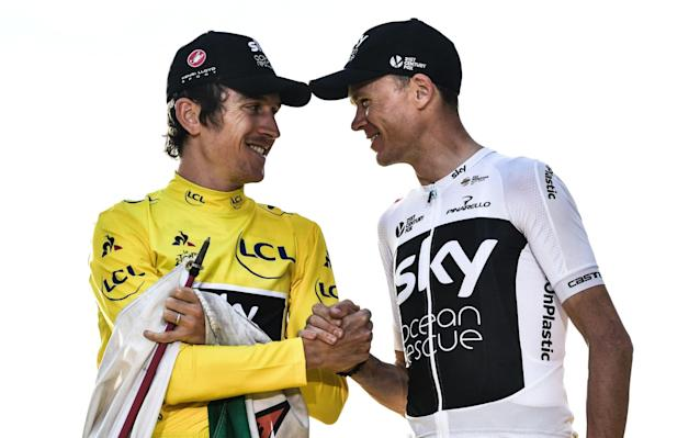 Geraint Thomas and Chris Froome face accusations that their new team owner, Ineos, is greenwashing by backing the former Team Sky - AFP