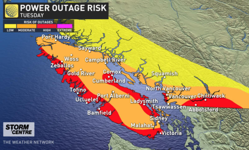 Howling, 70-100 km/h winds ramp up in B.C., power outages reported
