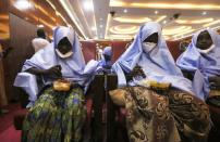 Girls who were kidnapped from a boarding school in the northwest Nigerian state of Zamfara, are seen after their release in Zamfara, Nigeria