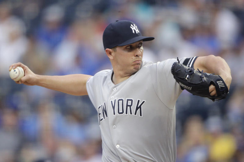 New York Yankees starting pitcher Chad Green throws during the first inning of the second baseball game in a doubleheader against the Kansas City Royals, Saturday, May 25, 2019, in Kansas City, Mo. (AP Photo/Charlie Riedel)