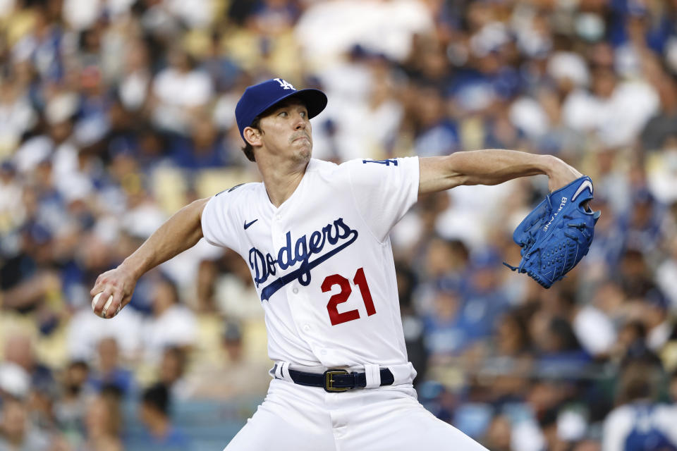 LOS ANGELES, CALIFORNIA - JUNE 29: Walker Buehler #21 of the Los Angeles Dodgers pitches against the San Francisco Giants during the first inning at Dodger Stadium on June 29, 2021 in Los Angeles, California. (Photo by Michael Owens/Getty Images)