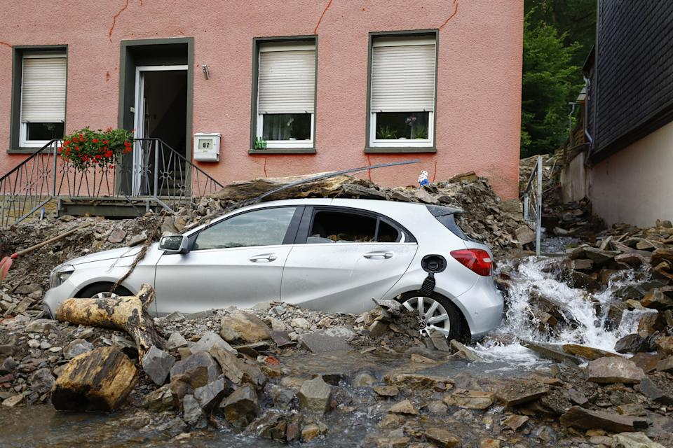 RHINELAND PALATINATE, GERMANY - JULY 15: A view of flooded area and damage after severe rainstorm and flash floods hit western states of Rhineland-Palatinate and North Rhine-Westphalia in Germany on July 15, 2021. The death toll in Germany's worst flood in more than 200 years rose to at least 42 as dozens of people remain missing. Search and rescue works continue in the area. (Photo by Abdulhamid Hosbas/Anadolu Agency via Getty Images)