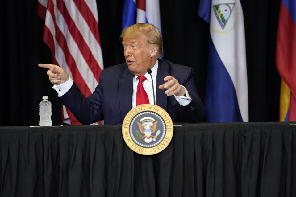 President Donald Trump speaks during a roundtable on Venezuela at Iglesia Doral Jesus Worship Center, Friday, July 10, 2020, in Doral, Fla. (AP Photo/Evan Vucci)