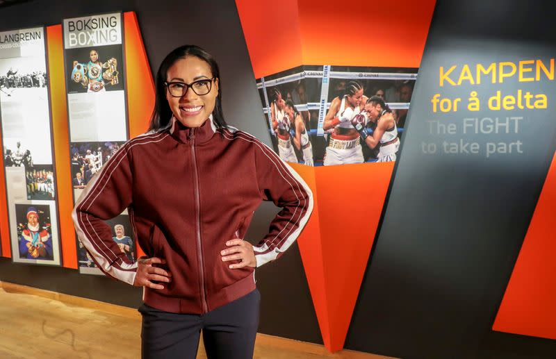 FILE PHOTO: Norwegian boxer Cecilia Braekhus attends the opening ceremony of the exhibition showing women's struggle to take part in sports events traditionally dominated by men, at the Norwegian Olympic Museum in Lillehammer