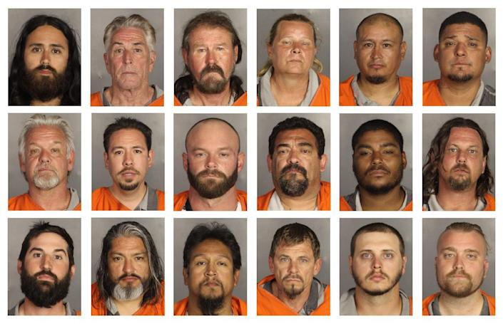 This combination of booking photos provided by the McLennan County Sheriff's office shows people arrested after the Twin Peaks shootout. (AP)
