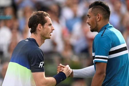 Tennis - ATP 500 - Fever-Tree Championships - The Queen's Club, London, Britain - June 19, 2018   Australia's Nick Kyrgios shakes hands with Great Britain's Andy Murray after winning his first round match   Action Images via Reuters/Tony O'Brien