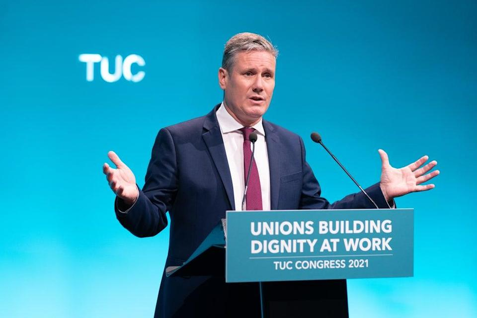 Labour leader Sir Keir Starmer speaking at the TUC congress in London (PA) (PA Wire)