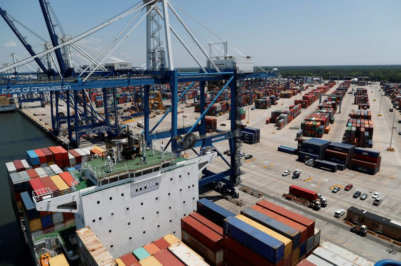FILE PHOTO: The view from one of the ship-to-shore cranes at Wando Welch Terminal operated by the South Carolina Ports Authority in Mount Pleasant