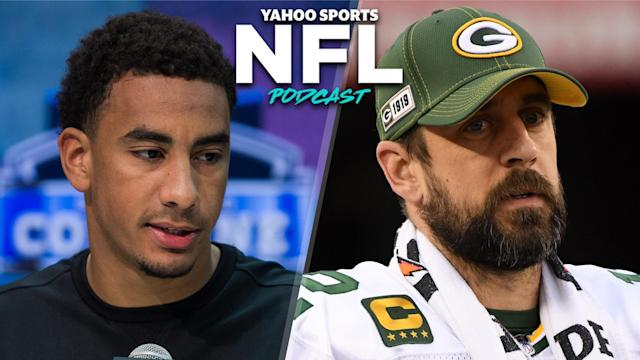 The Green Bay Packers drafted the potential heir apparent to Aaron Rodgers on Thursday night, which is sure to create a whirlwind of controversy over the next few years in northern Wisconsin. (Photo credits: Zach Bolinger/Icon Sportswire via Getty Images; Harry How/Getty Images)