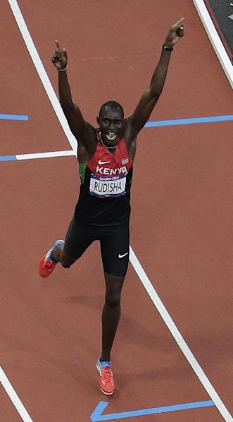 Kenya's David Lekuta Rudisha reacts after winning the men's 800-meter finals in the Olympic Stadium at the 2012 Summer Olympics, London, Thursday, Aug. 9, 2012. (AP Photo/Morry Gash)