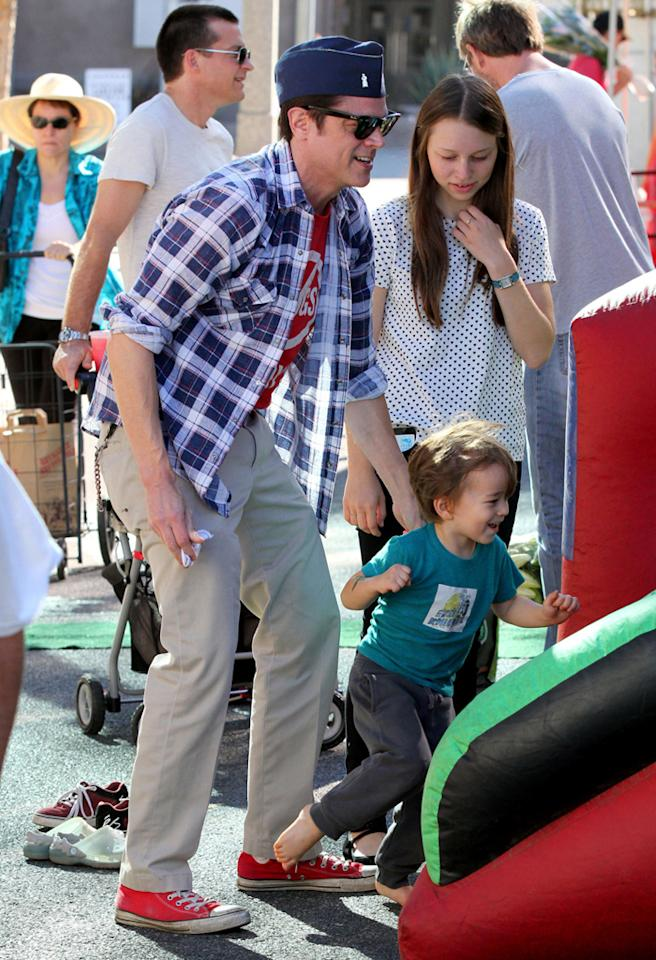 "Johnny Knoxville of ""Jackass"" fame also got in on the farmers' market fun with his wife Naomi and their son Rocko, who will turn 3 on December 20. Knoxville loves to wear a military-style hat! (11/4/2012)"