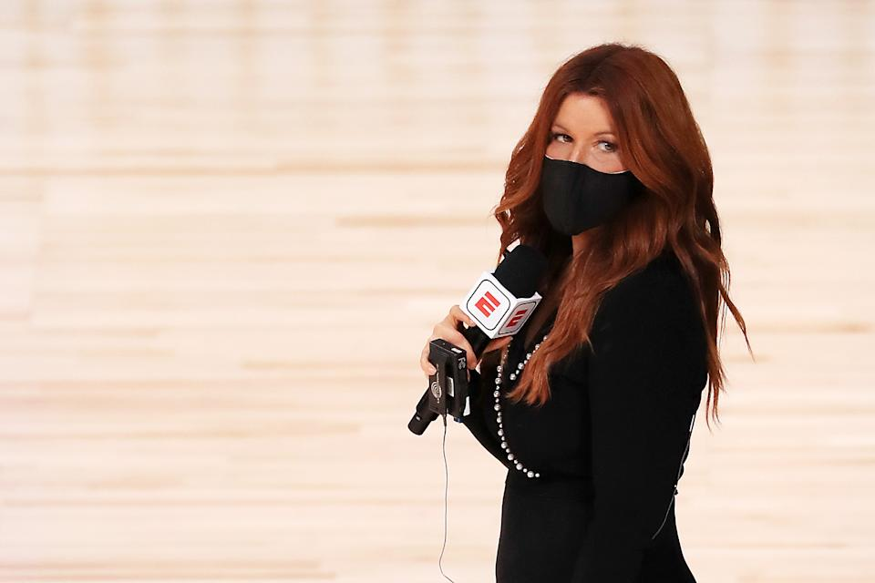 ESPN reporter Rachel Nichols stands on the court before a game between the Houston Rockets and the Dallas Mavericks on July 31, 2020. (Mike Ehrmann/Getty Images)