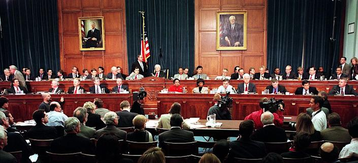 Members of the House Judiciary Committee discuss articles of impeachment against US President Bill Clinton Dec. 11, 1998, on Capitol Hill in Washington, D.C.   Paul Richards—AFP via Getty Images