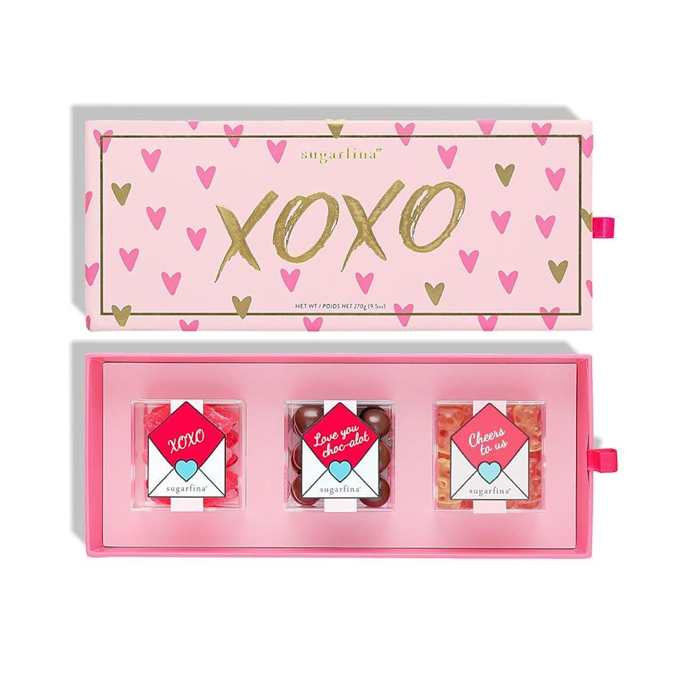 """<p><strong>XOXO</strong></p><p>Sugarfina</p><p><strong>$14.00</strong></p><p><a href=""""https://www.sugarfina.com/xoxo-3-piece-candy-bento-box"""" rel=""""nofollow noopener"""" target=""""_blank"""" data-ylk=""""slk:Shop Now"""" class=""""link rapid-noclick-resp"""">Shop Now</a></p><p>Because friendship is sweet. </p>"""