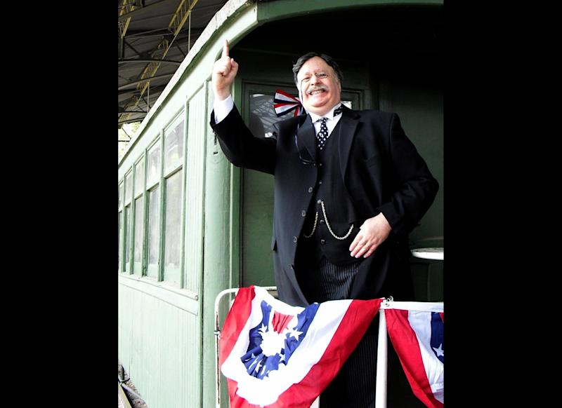"""Character actor Brian Patrick Mulligan has worked up a repertoire of famous people that includes President Teddy Roosevelt, Ben Franklin and Dick Cheney. He says the key to doing Roosevelt is being """"a steam engine in trousers."""" """"Teddy attacks everything like a bear devouring a fish,"""" he said. Mulligan is also working up a Newt Gingrich impersonation, which he says sounds like a cross between Kermit the Frog and a college professor."""
