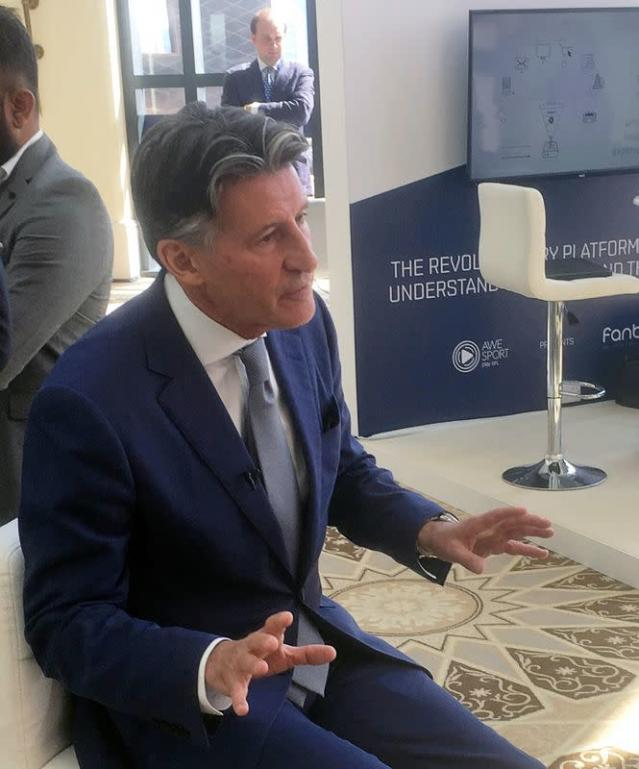IAAF President Sebastian Coe speaks during an interview with Reuters at the Leaders Sports Business Summit in Abu Dhabi