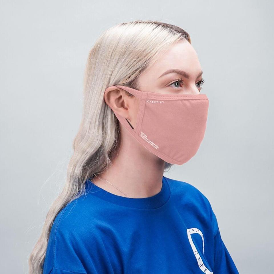 <p>When you buy a <span>Casetify Reusable Cloth Mask</span> ($15), you help donate one to help protect health workers on the front lines. Made with breathable fabric, these are washable and fitted with a filter.</p>