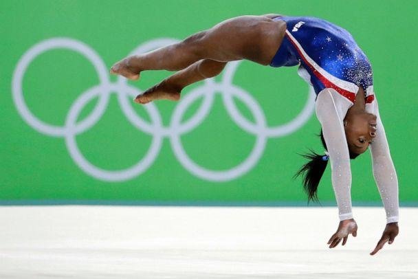 PHOTO: In this Aug. 11, 2016, file photo, United States' Simone Biles performs on the floor during the artistic gymnastics women's individual all-around final at the 2016 Summer Olympics in Rio de Janeiro, Brazil. (David Goldman/AP, File)