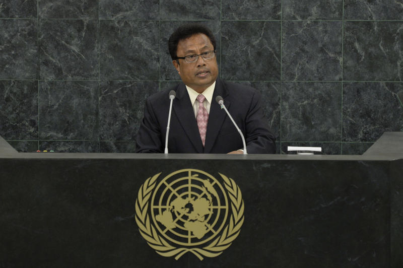 Palau President Tommy Remengesau speaks at the 68th United Nations General Assembly in New York on September 25, 2013 (AFP Photo/Andrew Burton)