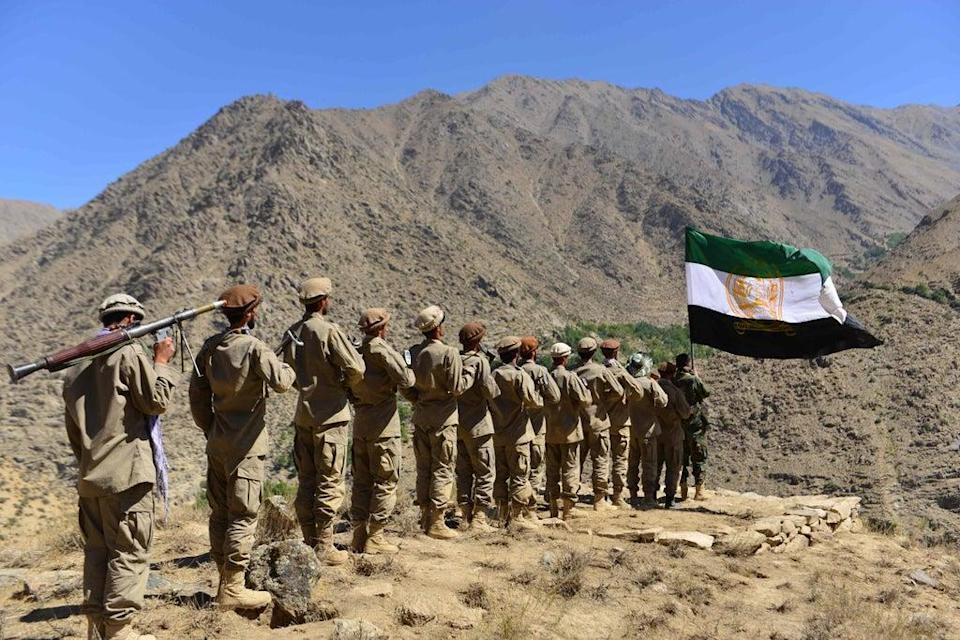 Afghan resistance movement and anti-Taliban forces take part in military training in the Dara district in Panjshir (AFP via Getty)
