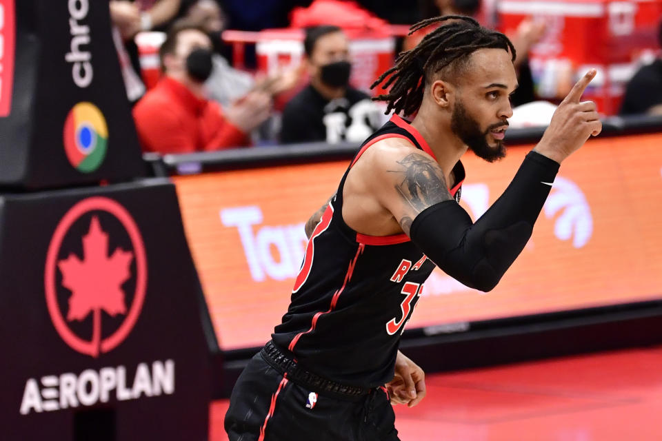 TAMPA, FLORIDA - APRIL 18: Gary Trent Jr. #33 of the Toronto Raptors reacts during the second quarter against the Oklahoma City Thunder at Amalie Arena on April 18, 2021 in Tampa, Florida. NOTE TO USER: User expressly acknowledges and agrees that, by downloading and or using this photograph, User is consenting to the terms and conditions of the Getty Images License Agreement. (Photo by Douglas P. DeFelice/Getty Images)