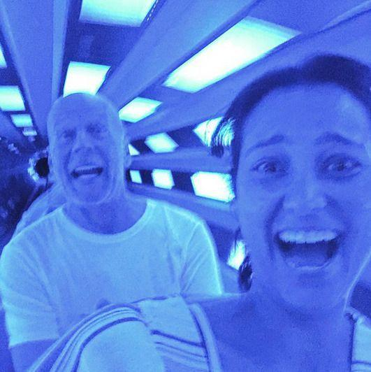 """<p>What a good actor! The action star pretended to be terrified as he rode Space Mountain with his """"Disney nerd"""" wife, Emma. """"How annoying am I?"""" she wrote, along with the hashtag """"#tolerance."""" (Photo: Instagram) </p>"""