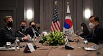 US Secretary of State Antony Blinken speaks with South Korea's Foreign Minister Chung Eui-yong during a meeting in London