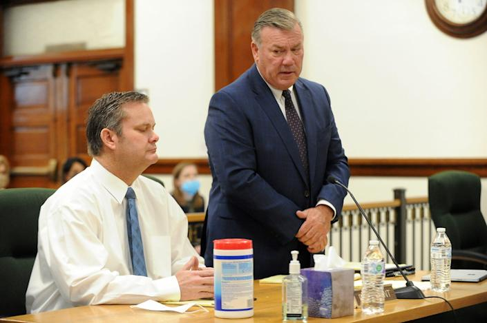 Defense attorney John Prior, right, addresses Magistrate Judge Faren Eddins as to why he and Chad Daybell, left, are not wearing masks in court during a preliminary hearing in St. Anthony, Idaho, on Monday, August 3, 2020.