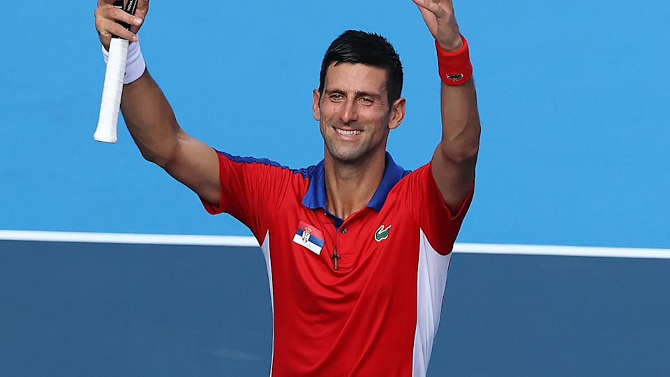 Novak Djokovic, pictured here after his victory over Hugo Dellien at the Olympics.