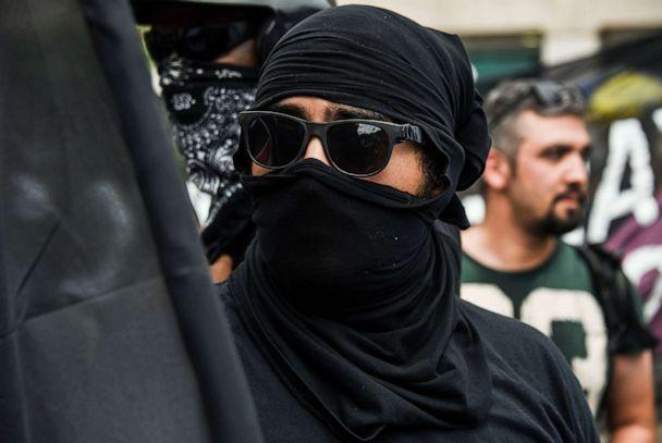 PHOTO: In this Aug. 12, 2018, file photo, a member of antifa is shown at the Unite the Right 2 rally in Washington, D.C., celebrating the first anniversary of the Unite The Right rally in Charlottesville, Va. (J.M. Giordano/Sopa Images/LightRocket via Getty Images, FILE)