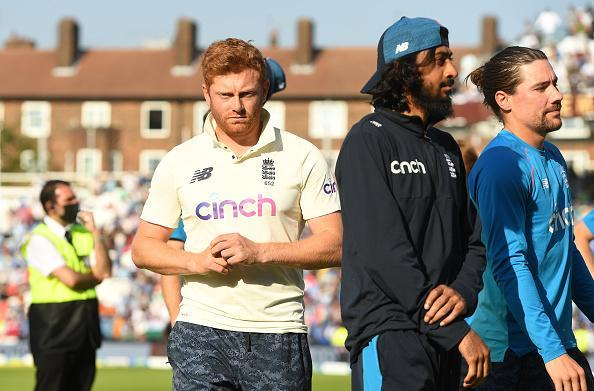 LONDON, ENGLAND - SEPTEMBER 06: Jonny Bairstow, Haseeb Hameed and Rory Burns of England on the field after India won the 4th LV= Test Match between England and India at The Kia Oval on September 06, 2021 in London, England. (Photo by Philip Brown/Popperfoto/Popperfoto via Getty Images)