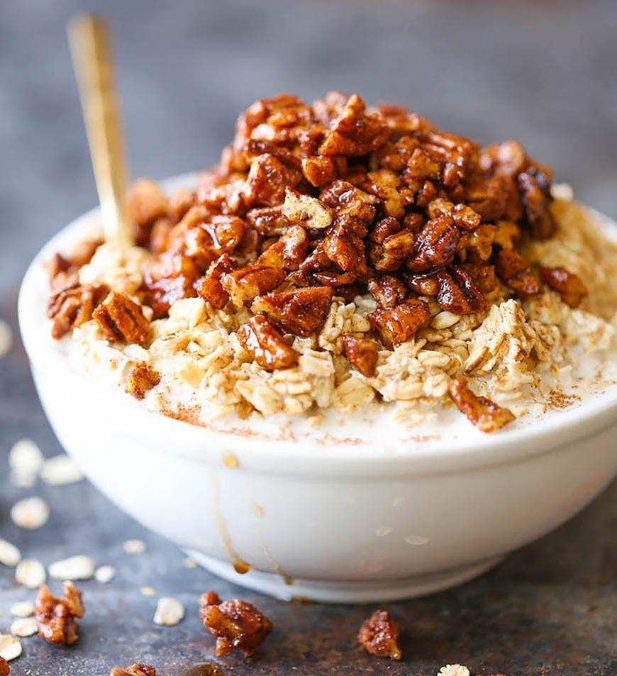 """<p>In this recipe, Damn Delicious uses whole milk to get nice and creamy oats. If you're <a rel=""""nofollow"""" href=""""http://www.self.com/gallery/14-dairy-free-smoothie-ideas?mbid=synd_yahoofood"""">dairy-free</a>, she says you can use almond, cashew, or coconut milk for similar results. Get the recipe <a rel=""""nofollow"""" href=""""http://damndelicious.net/2016/12/01/pecan-pie-overnight-oats?mbid=synd_yahoofood"""">here</a>.</p>"""