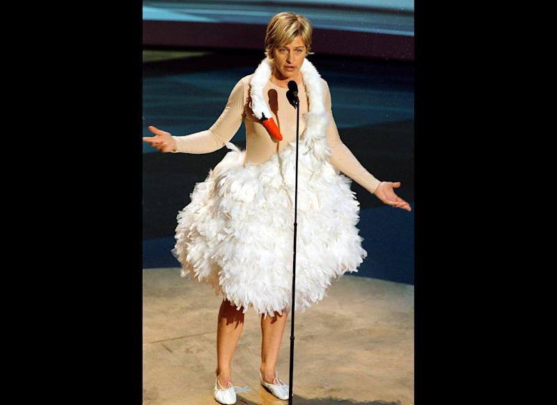 Bjork, is that you? No, it's Ellen at the 53rd Annual Emmy Awards.