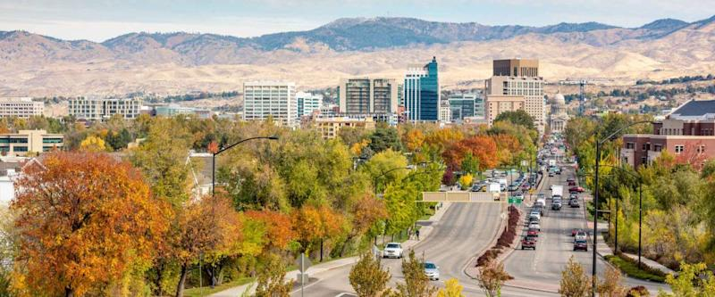 Boise Idaho street leading to the capital building in fall