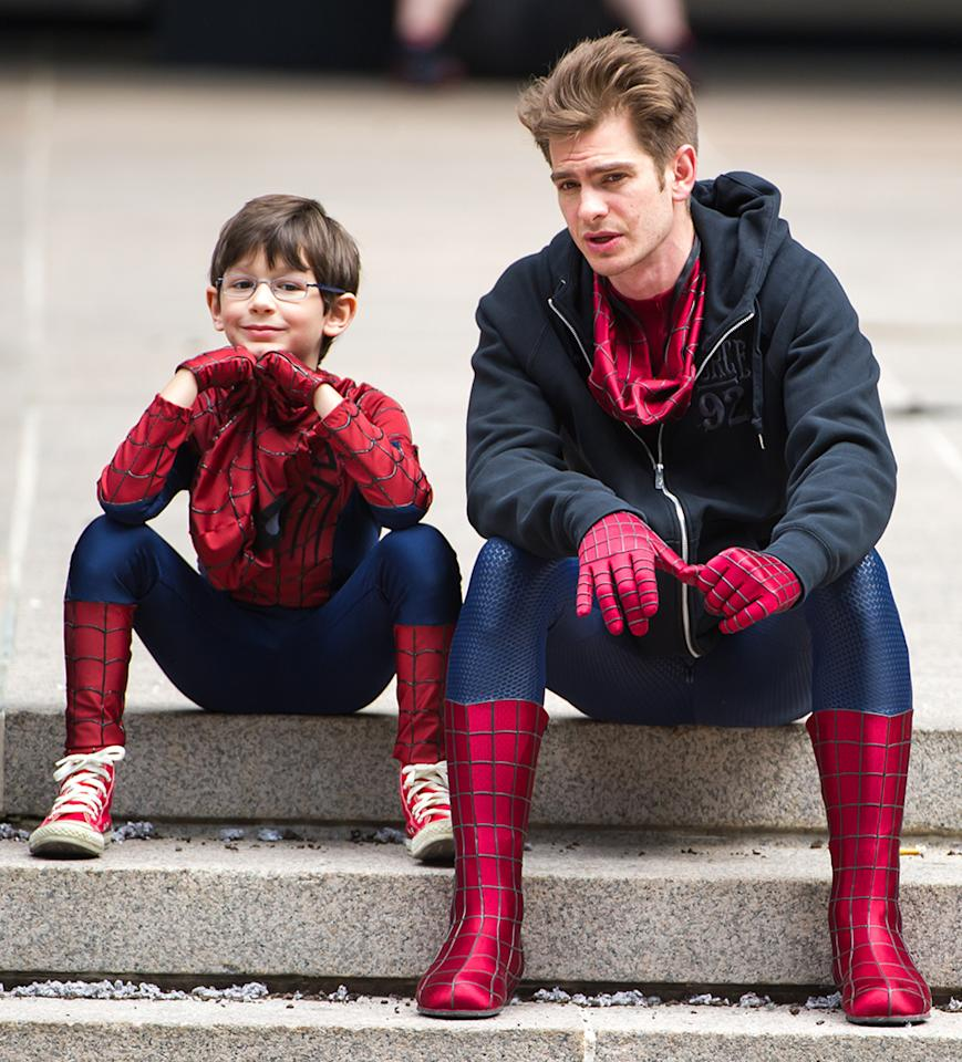 "Spider-Man fans, feast your eyes on this one! ""The Amazing Spider-Man 2"" star Andrew Garfield took time out on the set to chat with pint-size Spidey actor Jorge Vegas in New York City on Sunday. (5/26/2013)"